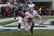 PHILADELPHIA - DECEMBER 9: Jeremy Shokey #80 of the New York Giants reaches for an out of reach ball in the endzone during the game against the Philadelphia Eagles on December 9, 2007 at Lincoln Financial Field in Philadelphia, Pennsylvania. The Giants won 16-13.