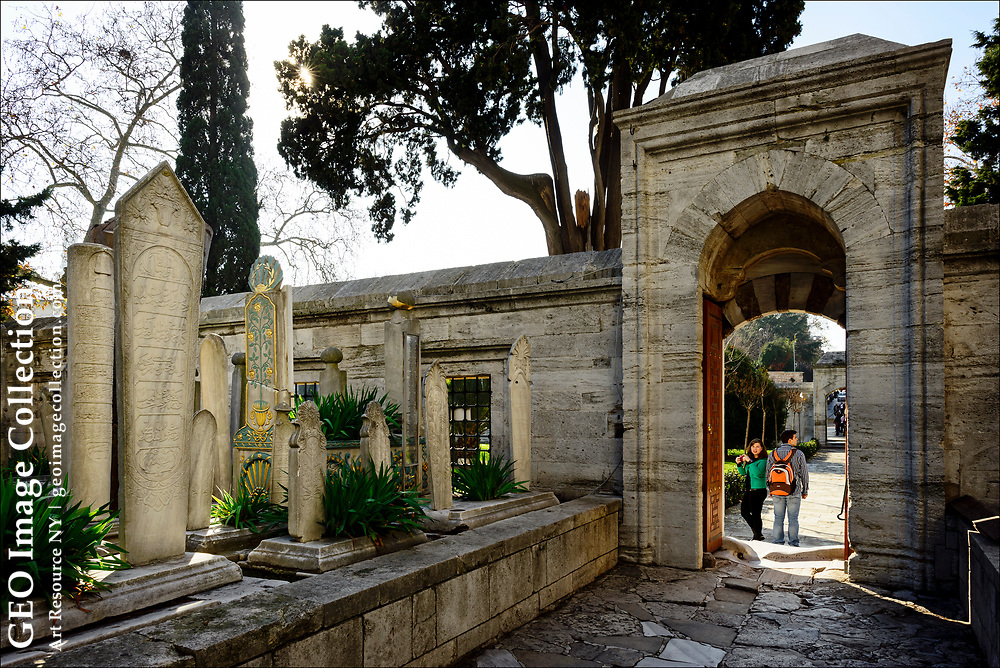 At Istanbul's 16th century Suleymaniye mosque, or the mosque of Suleyman the Magnificent, there is an old cemetery where Sultan Süleyman, his wife Hürrem, and architect Sinan have their own mausoleums along with many other officials of  Suleyman's court.