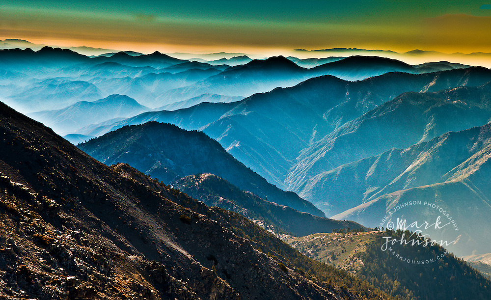 Panoramic view of the San Gabriel Mountains from the summit of Mount San Antonio, (Mt. Baldy), , Los Angeles County, S. California, USA