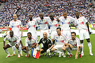 09 July 2006: France's starting line-up: (front row l-r) Claude Makelele, Florent Malouda, Fabien Barthez, Willy Sagnol, Frank Ribery; (back row l-r) Zinedine Zidane, William Gallas, Patrick Viera, Lilian Thuram, Thierry Henry, Eric Abidal.  Italy defeated France in a penalty kick shoot-out at the Olympiastadion in Berlin, Germany in match 64, the championship game, of the 2006 FIFA World Cup Finals.