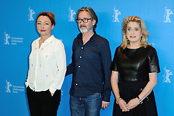 Catherine Frot, Martin Provost and Catherine Deneuve attending the Sage Femme (The Mid Wife) Photocall during the 67th Berlin International Film Festival (Berlinale) in Berlin, Germany on Februay 14, 2017. Photo by Aurore Marechal/ABACAPRESS.COM