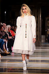 Alice Dellal on the catwalk during the Pam Hogg Autumn/Winter 2017 London Fashion Week show at the Fashion Scout venue in Freemason's Hall, London. Picture date: Saturday February 19th, 2017. Photo credit should read: Matt Crossick/ EMPICS Entertainment.