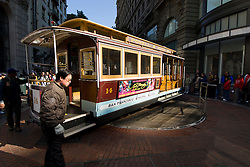 California, San Francisco: Cable Car transportation. Turnaround at Powell Street. Photo 4-casanf79254. Photo copyright Lee Foster.