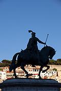 Equestrian statue of King John I in the Praca da Figueira in Lisbon, Portugal
