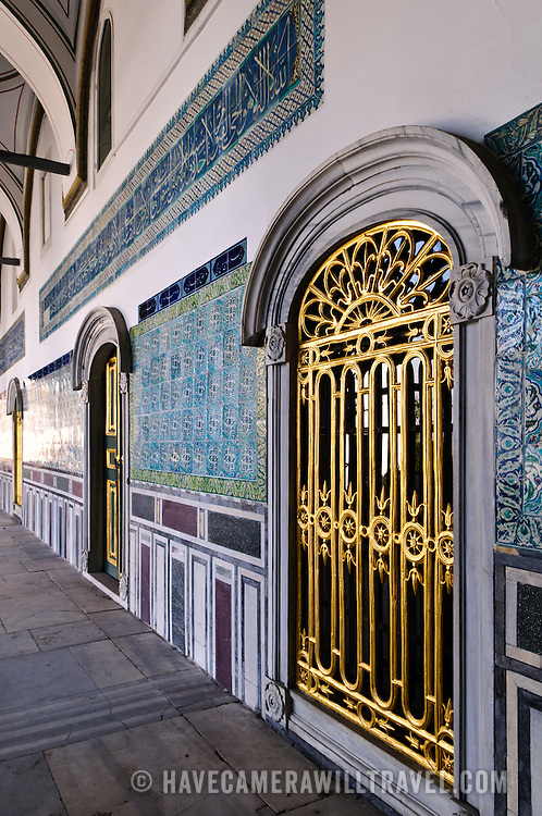 Gold decorated doorways and ceramic tiled walls in the Harem at the Topkapi Palace in Istanbul