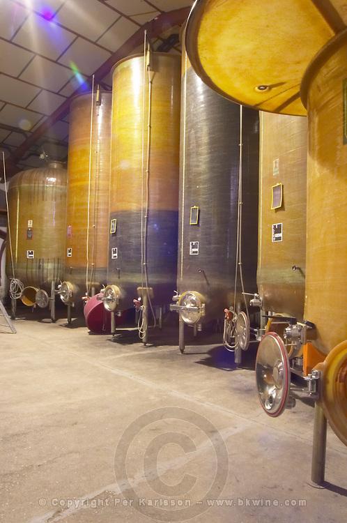 Domaine Ermitage du Pic St Loup, Chateau Ste Agnes. Pic St Loup. Languedoc. Fibreglass vats. Floating top vats. France. Europe.
