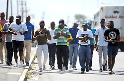 South Africa - Cape Town - 16 October 2020 - Khayelitsha Men March against Gender Base Voilence a group of men take to the streetin a bid to demonstrate against Gender Base Voilence.They marching to Harare Police Station to Voice their concern about the lack of convictions in the area Photographer Ayanda Ndamane African News Agency(ANA)