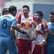 HARRISON, NEW JERSEY- JULY 24:  Frank Lampard #8 of New York City FC has an altercation with Sacha Kljestan #16 of New York Red Bulls and Felipe Martins #8 of New York Red Bulls during the New York Red Bulls Vs New York City FC MLS regular season match at Red Bull Arena, Harrison, New Jersey on July 24, 2016 in Harrison, New Jersey. (Photo by Tim Clayton/Corbis via Getty Images)
