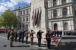 © Licensed to London News Pictures. 25/04/2017. London, UK. Dignitaries attend the ANZAC ceremony at the Cenotaph in Whitehall. A dawn ceremony and service was held at The Australian War Memorial and The New Zealand War Memorial at Hyde Park Corner.  April 25th is the day that Australia and New Zealand remember the dead of all wars. Photo credit: Peter Macdiarmid/LNP