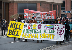 © Licensed to London News Pictures; 01/05/2021; Bristol, UK. A Kill the Bill protest takes place through the city centre on the evening of Mayday against the Police Crime Sentencing and Courts bill. This is the 11th Kill the Bill protest in Bristol since the first one on 21 March which saw violence and damage to the central Bridewell Police station and two police vehicles set on fire. Photo credit: Simon Chapman/LNP.