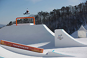 Yuri Okubo, Japan, during the snowboard slopestyle practice on the 7th February 2018 at Phoenix Snow Park for the Pyeongchang 2018 Winter Olympics in South Korea