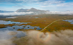 Glencoe, Scotland, UK. 8th September 2021. Early morning saw sunshine and low level mist over Rannoch Moor and on the mountains in Glen Coe. The good weather is expected to last today but rain will move in on Thursday. Pic; Mist lies over Rannoch Moor and surrounding lochs.  Iain Masterton/Alamy Live News.