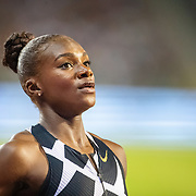 BRUSSELS, BELGIUM:  September 3:    Dina Asher-Smith of Great Britain warming up before the 200m for women race during the Wanda Diamond League 2021 Memorial Van Damme Athletics competition at King Baudouin Stadium on September 3, 2021 in  Brussels, Belgium. (Photo by Tim Clayton/Corbis via Getty Images)