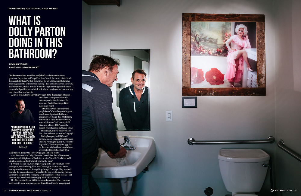 Vortex Music Magazine issue 13, Ed Caraeff and his portrait of Dolly Parton at Paydirt in Portland, OR.