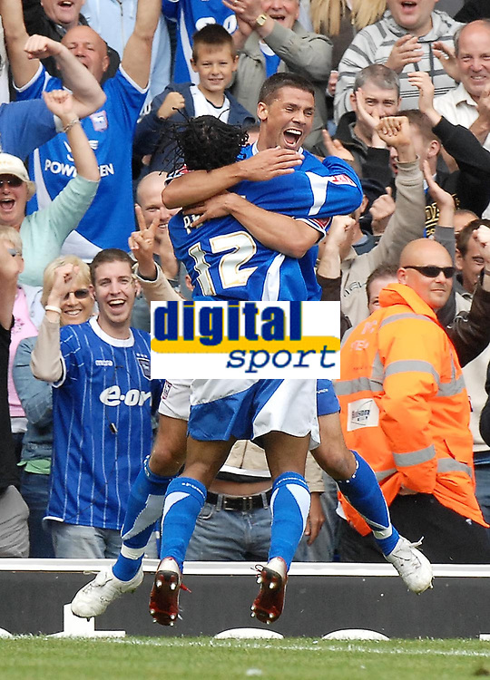 Photo: Ashley Pickering.<br /> Ipswich Town v Cardiff City. Coca Cola Championship. 06/05/2007.<br /> Jon Waters of Ipswich (R) celebrates his second goal (and Ipswich's third) with team mate Jaime Peters