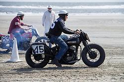 Ed Massarone on his 1947 Harley-Davidson Flathead at the Race of Gentlemen. Wildwood, NJ, USA. October 10, 2015.  Photography ©2015 Michael Lichter.