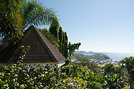 Tropical plants around a gazebo overlooking St. George's Harbour, Hyde Park Garden, St. George's, Grenada, West Indies, The Caribbean