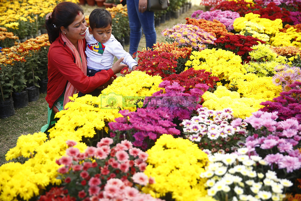 November 1, 2018 - Lalitpur, Nepal - A mother and child observe flowers during a floral expo in Lalitpur, Nepal on Thursday, November 01, 2018. (Credit Image: © Skanda Gautam/ZUMA Wire)