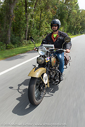 Marcin Grela riding his 1936 Harley Davidson VLH during Stage 1 of the Motorcycle Cannonball Cross-Country Endurance Run, which on this day ran from Daytona Beach to Lake City, FL., USA. Friday, September 5, 2014.  Photography ©2014 Michael Lichter.