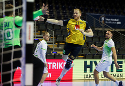 Urban Lesjak of Slovenia vs Jim Gottfridsson of Sweden during handball match between National Teams of Sweden and Slovenia at Day 3 of IHF Men's Tokyo Olympic  Qualification tournament, on March 14, 2021 in Max-Schmeling-Halle, Berlin, Germany. Photo by Vid Ponikvar / Sportida