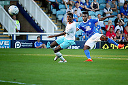 Peterborough no 9 Shaquile Coulthirst gets in a shot during the Pre-Season Friendly match between Peterborough United and West Ham United at London Road, Peterborough, England on 19 July 2016. Photo by Nigel Cole.