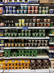 "Pot Noodles on sale in a Tesco store in Andover, Hampshire, as Unilever's finance chief admitted that the prices of its popular products will rise as a result of the collapse in sterling, a day after the firm was accused of ""exploiting consumers"" following a row with Tesco."