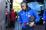 Andros Townsend of Crystal Palace arrives before the Premier League match between Swansea City and Crystal Palace at the Liberty Stadium, Swansea, Wales on 26 November 2016. Photo by Andrew Lewis.