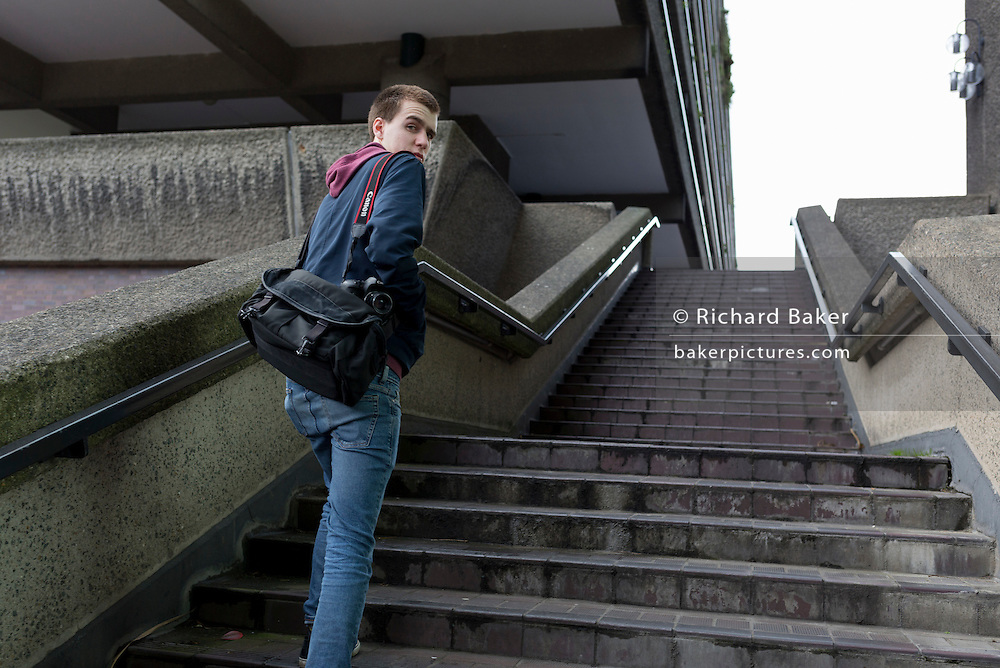 Filmmaker and photographer Sam Baker, aged 18 on 5th March 2017, at the Barbican in the City of London, England.