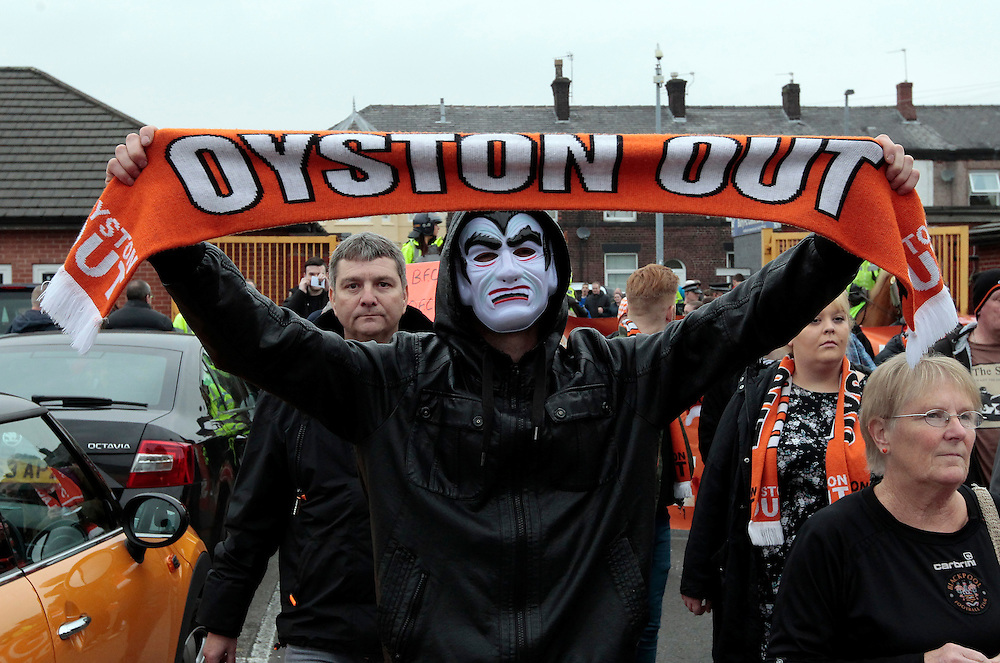 Blackpool fans stage a protest again the Oystons ownership of the club before kick off<br /> <br /> Photographer David Shipman/CameraSport<br /> <br /> Football - The Football League Sky Bet League One - Bury v Blackpool - Saturday 31st October 2015 - Gigg Lane - Bury <br /> <br /> © CameraSport - 43 Linden Ave. Countesthorpe. Leicester. England. LE8 5PG - Tel: +44 (0) 116 277 4147 - admin@camerasport.com - www.camerasport.com