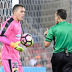 BRISBANE, AUSTRALIA - NOVEMBER 19: Danny Vukovic of Sydney reacts to a refereeing decision during the round 7 Hyundai A-League match between the Brisbane Roar and Sydney FC at Suncorp Stadium on November 19, 2016 in Brisbane, Australia. (Photo by Patrick Kearney/Brisbane Roar)