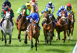 Zorion ridden by Kevin Manning (centre) goes on to win the John R Fitzpatrick Agricultural Contractor Handicap during Derrinstown Stud Derby Trial Day at Leopardstown Racecourse, Dublin.