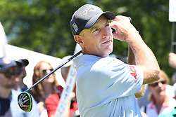 June 24, 2017 - Cromwell, Connecticut, U.S - Jim Furyk tees off the first tee during the third round of the Travelers Championship at TPC River Highlands in Cromwell, Connecticut. (Credit Image: © Brian Ciancio via ZUMA Wire)