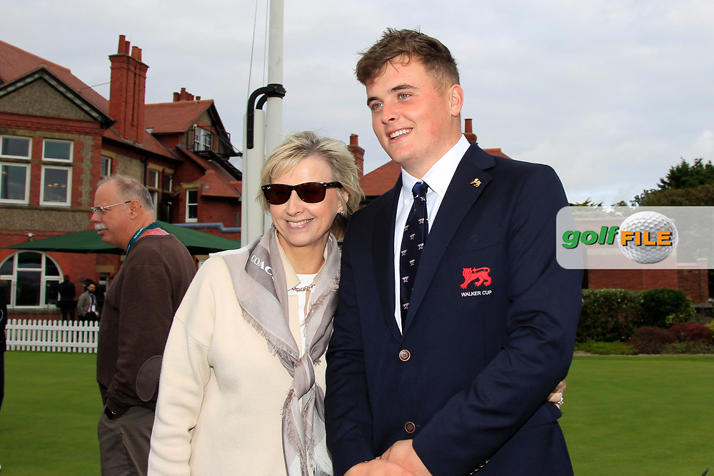 James Sugrue (GB&I) and his mum Margaret during the Official Opening of the Walker Cup, Royal Liverpool Golf CLub, Hoylake, Cheshire, England. 06/09/2019.<br /> Picture Thos Caffrey / Golffile.ie<br /> <br /> All photo usage must carry mandatory copyright credit (© Golffile | Thos Caffrey)