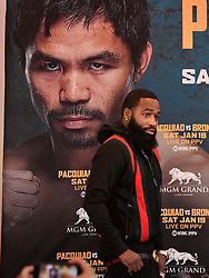 Nov 11-20-18. Los Angeles, CA. Adrien Broner talks during a Los Angeles press conference on his upcoming fight with Senator Manny ''Pacman'' Pacquiao Tuesday. The two will fight in Jan 19,2019 in Las Vegas at the MGM and PPV on showtime..Photo by Gene Blevins/ZumaPress. (Credit Image: © Gene Blevins/ZUMA Wire)
