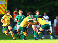 Rugby Union - 2017 Women's Rugby World Cup (WRWC) - Pool C: Ireland vs. Australia<br /> <br /> Ireland's Lindsay Peat is tackled by Australia's Rebecca Clough and Liz Patu , at the UCD Bowl, Dublin.<br /> <br /> COLORSPORT/KEN SUTTON