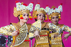 London, UK. 8 June, 2019. Lila Bhawa, the UK's premier Indonesian dance group, perform Legong Kuntul, a Balinese dance, at the Eid Festival in Trafalgar Square to celebrate the Muslim festival of Eid-ul-fitr. The Eid Festival is a free annual event backed by the Mayor of London and its highlights include a food festival with a host of cuisines from across the world, plus live music and exclusive performances.