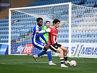 Football - 2020 / 2021 Emirates FA Cup - Round 2 - Gillingham vs Exeter City - Priestfield Stadium<br /> <br /> Exeter City's Joel Randall holds off the challenge from Gillingham's Christian Maghoma.<br /> <br /> COLORSPORT/ASHLEY WESTERN