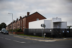 © Licensed to London News Pictures . 16/09/2020. Bolton , UK . A testing site adjacent to houses in Farnwoth . The number of recorded cases of Coronavirus has gone over 200 in a single day , in Bolton . Photo credit : Joel Goodman/LNP