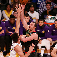 07 January 2018: Atlanta Hawks center Miles Plumlee (18) goes for the baby hook over Los Angeles Lakers center Brook Lopez (11) during the LA Lakers 132-113 victory over the Atlanta Hawks, at the Staples Center, Los Angeles, California, USA.