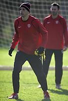 Photo: Paul Thomas.<br />Manchester United training session. UEFA Champions League. 06/03/2007.<br />Man Utd's Rio Ferdinand during training.