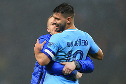 24th October 2017 - Carabao Cup (4th Round) - Manchester City v Wolverhampton Wanderers - A fan runs onto the pitch and hugs Sergio Aguero of Man City as he celebrates victory - Photo: Simon Stacpoole / Offside.