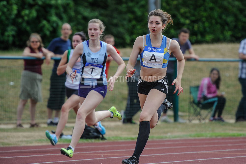Action from the Women's 200 meters in the Division 2 North match of the Southern Athletics League, Westminster Lodge, St Albans, Herts on the 20th July 2013