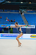 Kabrits Laurabell during qualifying at clubs in Pesaro World Cup 11 April 2015. Laurabel is an Estonian rhythmic gymnastics athlete born on March 3 ,1999 in Tallinn, Estonia.