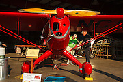 1938 Rearwin Speedster on display in restoration hangar at Hood River Fly-In.