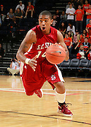 CHARLOTTESVILLE, VA- NOVEMBER 13: Shaquil Barber #14 of the South Carolina State Bulldogs handles the ball during the game on November 13, 2011 at the John Paul Jones Arena in Charlottesville, Virginia. Virginia defeated South Carolina State 75-38. (Photo by Andrew Shurtleff/Getty Images) *** Local Caption *** Shaquil Barber