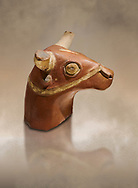 Hittite terra cotta bull head - 17th -16th century BC- Hattusa ( Bogazkoy ) - Museum of Anatolian Civilisations, Ankara, Turkey .<br /> <br /> If you prefer to buy from our ALAMY STOCK LIBRARY page at https://www.alamy.com/portfolio/paul-williams-funkystock/hittite-art-antiquities.html  - Type Hattusa into the LOWER SEARCH WITHIN GALLERY box. Refine search by adding background colour, place, museum etc<br /> <br /> Visit our HITTITE PHOTO COLLECTIONS for more photos to download or buy as wall art prints https://funkystock.photoshelter.com/gallery-collection/The-Hittites-Art-Artefacts-Antiquities-Historic-Sites-Pictures-Images-of/C0000NUBSMhSc3Oo