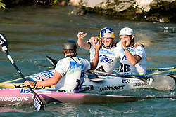Happiness of team Slovenia (Jure Meglic, Dejan Kralj and Peter Kauzer) before announcement of 50 seconds penalty in the Men's Kayak K-1 Teams at ICF Canoe Slalom World Championships - Sloka 2010 on September 12, 2010 in Tacen, Ljubljana, Slovenia (Photo by Matic Klansek Velej / Sportida)