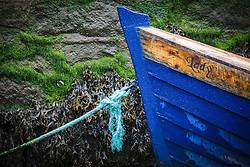 Blue boat in harbor at low tide, Kinvarra, County Galway, Ireland
