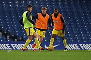 AFC Wimbledon midfielder Anthony Hartigan (8) and AFC Wimbledon midfielder Alfie Eagan (28) warming up during the EFL Trophy match between U21 Chelsea and AFC Wimbledon at Stamford Bridge, London, England on 4 December 2018.