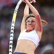 Vanessa Boslak, France, in action during the Women's Pole Vault Final at the Olympic Stadium, Olympic Park, during the London 2012 Olympic games. London, UK. 4th August 2012. Photo Tim Clayton